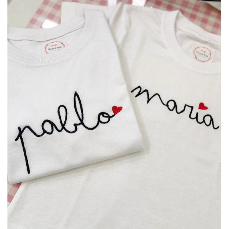 Camiseta niño caligrafía manga corta