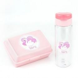 Pack Botella 600ml + Cajita Porta Alimentos Cisne Rosa personalizadas