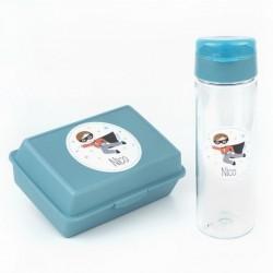 Pack Botella 600ml + Cajita Porta Alimentos Superhéroe Azul personalizadas