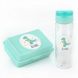 Pack Botella 600ml + Cajita Porta Alimentos Dinosaurio Menta personalizadas
