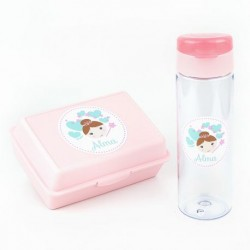 Pack Botella 600ml + Cajita Porta Alimentos Hada personalizadas