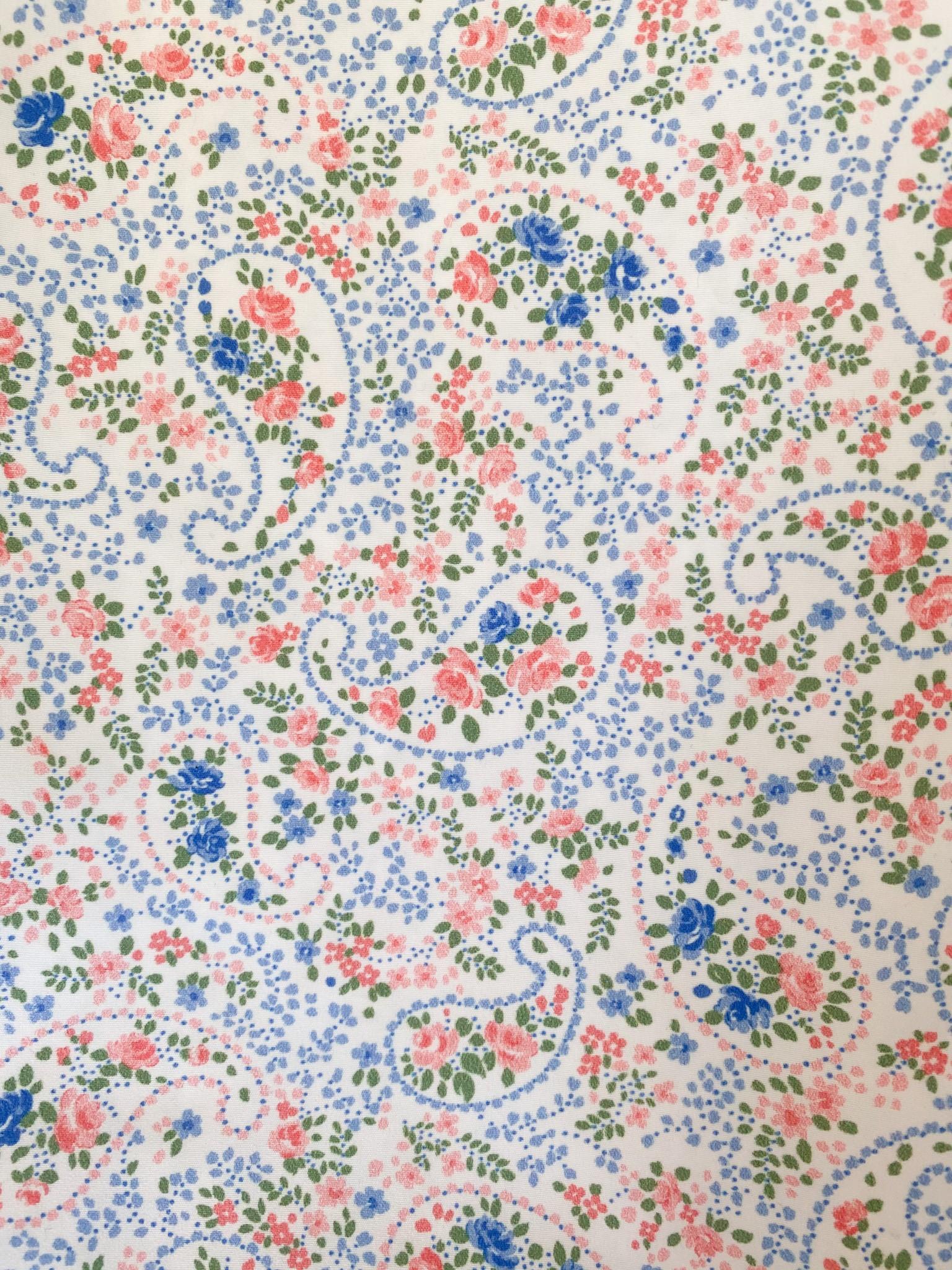 326 Cachemir azul flores salmón